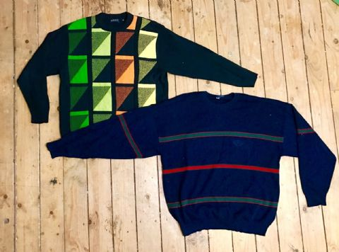 20 x Original Vintage Mens 80's Jumpers Sweaters Retro indie Cardigan Knitwear Unisex - Job Lot Wholesale